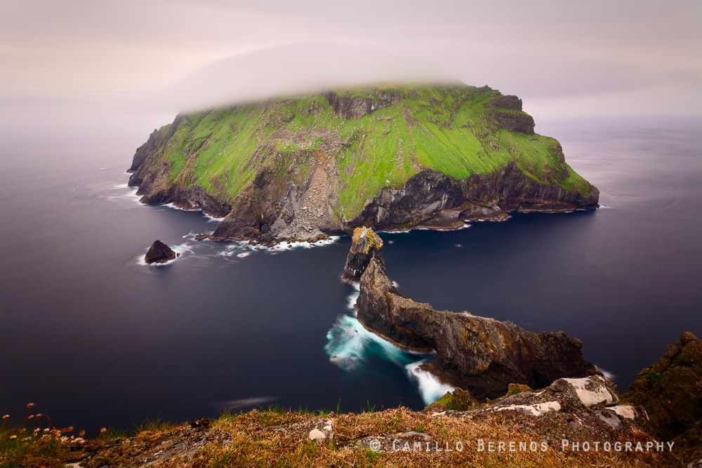 The island of Soay as seen from the Cambir on Hirta, in the remote archipelago of St Kilda. Soay is home to a flock of around 300 feral Soay sheep.
