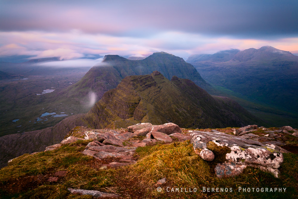 The route over the ridge of Beinn Alligin is a classic walk, regardless whether the horns are tackled first or last. Beinn Dearg can be seen behind the horns in this long exposure photograph taken around sunset.