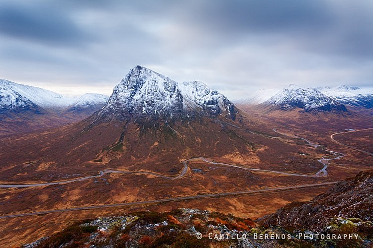 The view from Beinn a'Chrulaiste over the mighty Buachaille Etive Mor. The river Coupal can be seen meandering through the valley.