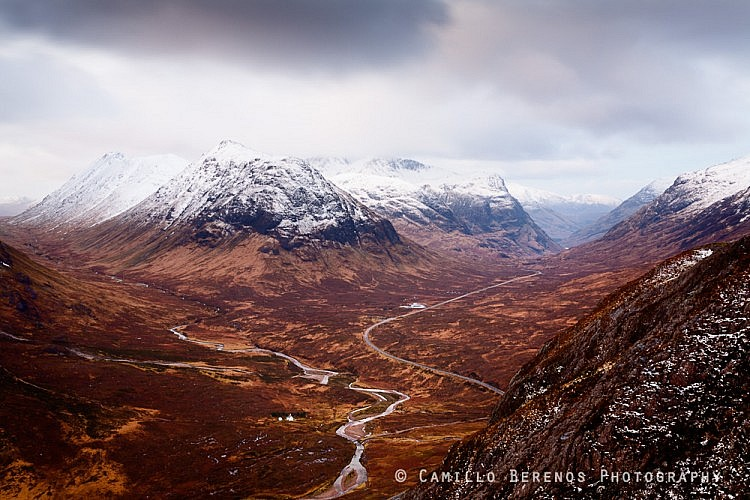 The summits of Buachaille Etive Beag and Bidean nam Bian covered in snow.