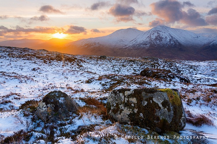 A winter sunrise from Beinn a'Chrulaiste. Creise and Meall a'Bhuiridh can be seen in a nice dusting of snow.
