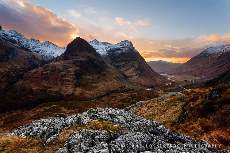 A winter sunset in Glencoe. From this vantage point above the A82you get a great sensne of scale when looking at the Bidean nam Bian.