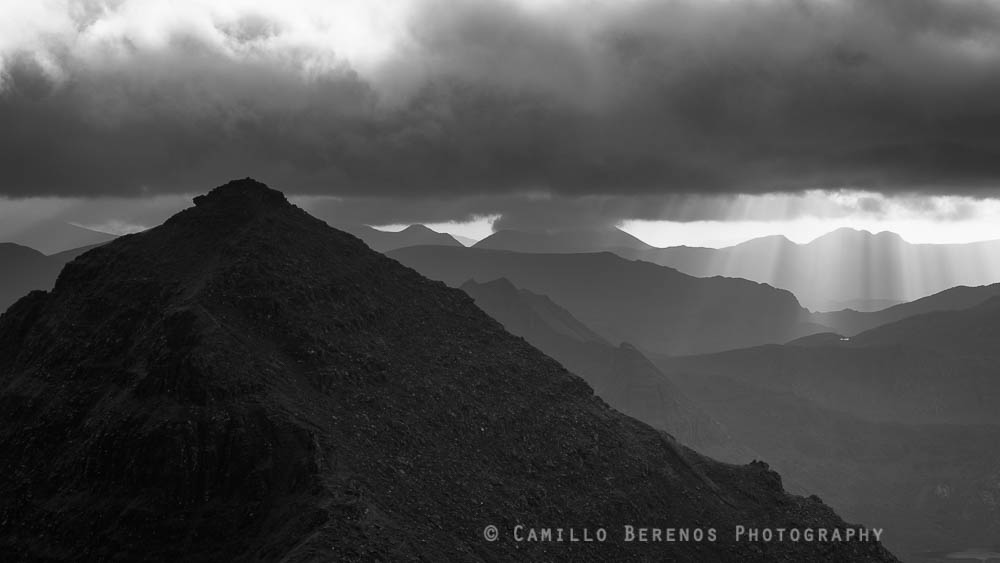 Crepescular rays behind An Teallach in Wester Ross, Scotland