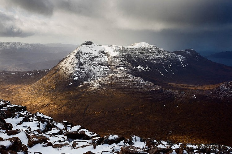 Beinn Damh in some dramatic afternoon sidelight in between blizzards, Torridon, Scotland