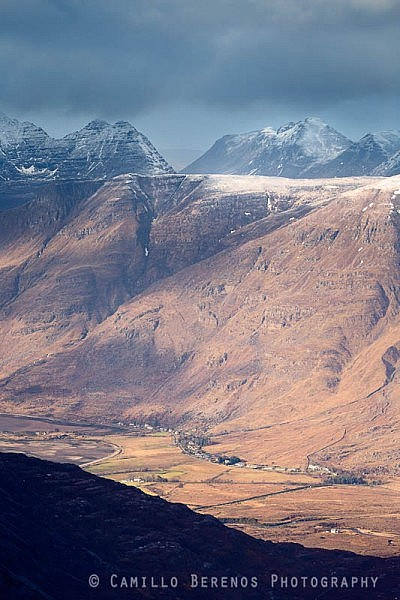 Torridon village with the steep mountains of Beinn Alligin and Beinn Dearg as backdrop, Torridon