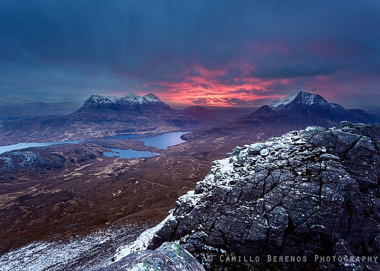 A spectacular interplay betwee warm and cool tones in the clouds at dawn, Stac Pollaidh.