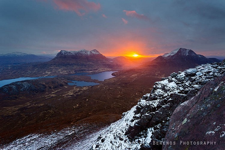 Sunrise between Cul Mor and Cul Beag in the far North of Scotland