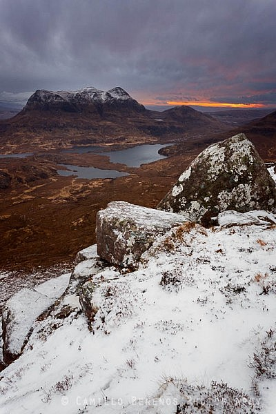 Cul Mor rising steeply above the wild landscape of Inverpolly