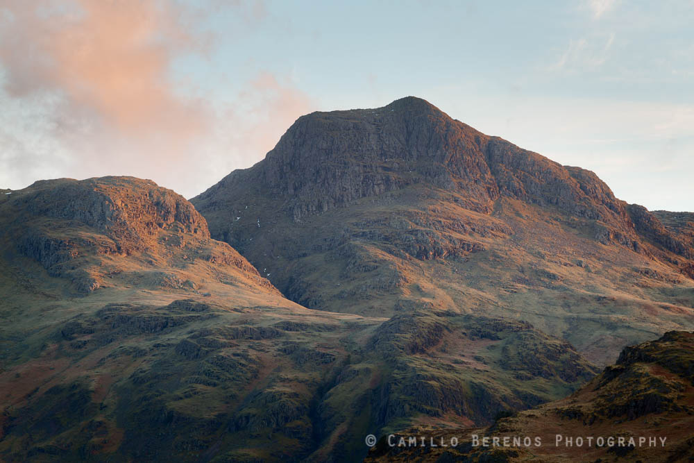 Thorn Crag and Harrison Stickle sidelit by soft morning light