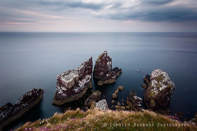 Sea stacks at St Abb's Head ast dusk.