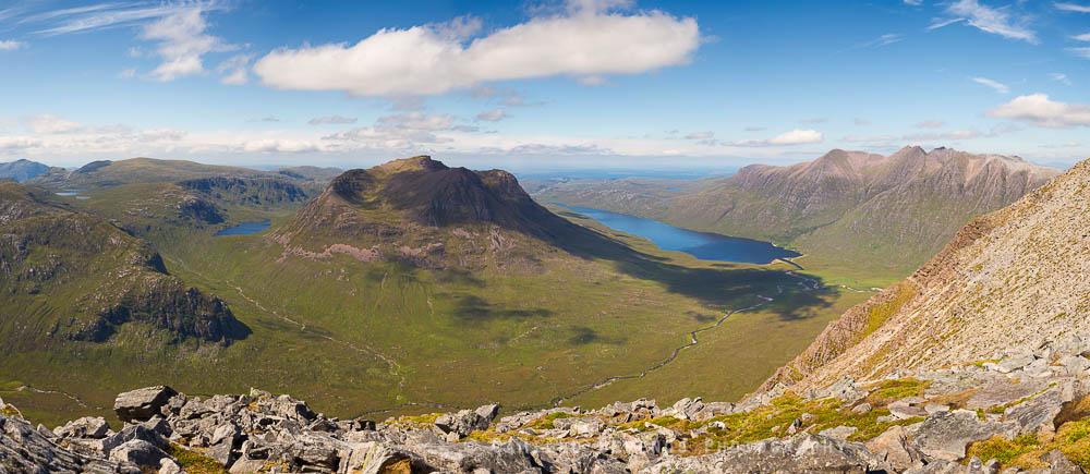 Beinn Dearg Mor, Loch na Sealga and An Teallach from Beinn a' Chlaidheimh.