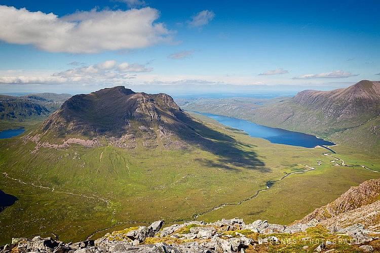 Beinn Dearg Mor with Loch na Sealga on the right from the summit of Beinn a' Chlaidheimh