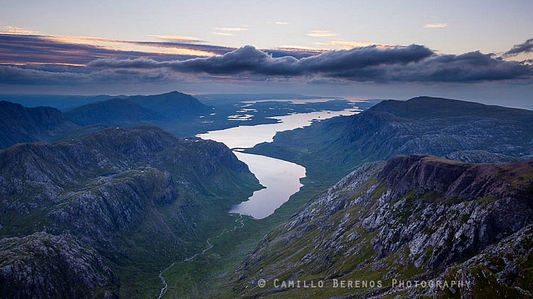 Looking out over Fionn Loch from A' Mhaighdean at dusk