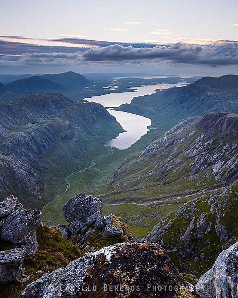High above Fionn Loch: The view from A' Mhaighdean at twilight