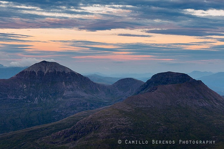 Mullach Coire Mhic Fhearchair and Beinn tarsuinn during the blue hour after sunset