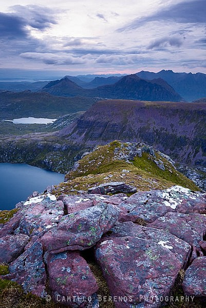Looking out over Fuar Loch Mor with the craggy ridges of Beinn dearg Mor and An Teallach in the distance