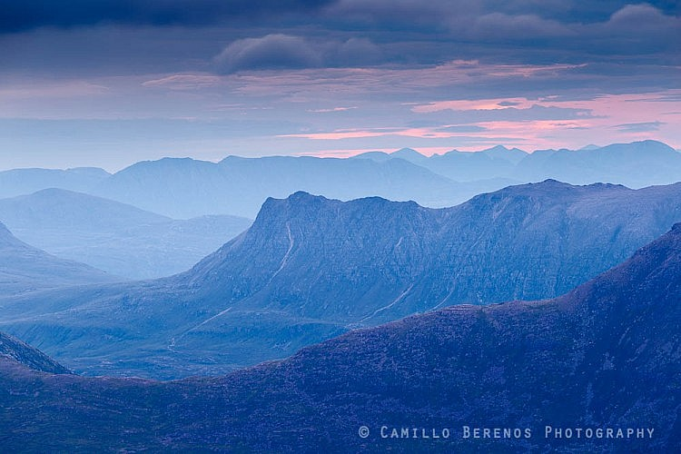 Layered distant mountain massifs in the Fisherfield Forest and beyond.