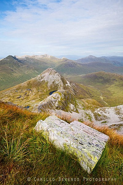 Looking out over Binnein Beag and the Grey Corries from Binnein Mor