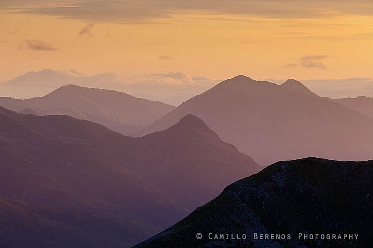 The Pap of Glen Coe (Sgorr na Ciche) with Sgorr Dhearg rising behind it at sunset
