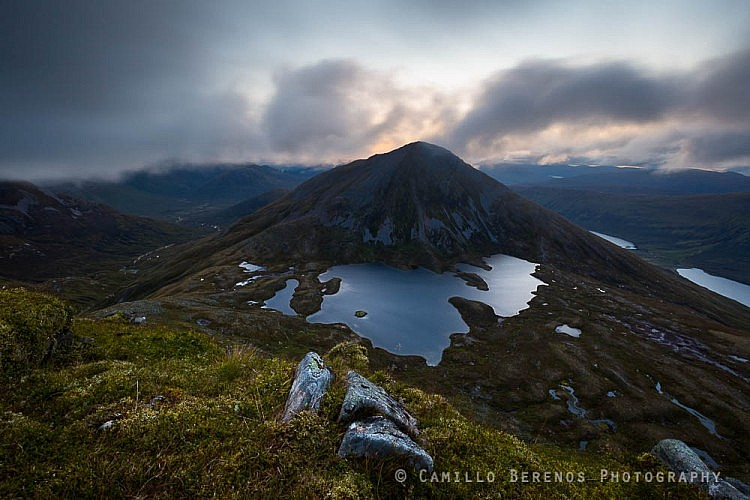 Clouds above Sgurr Eilde Mor, as scree cone and Munro in the Mamores, at dawn
