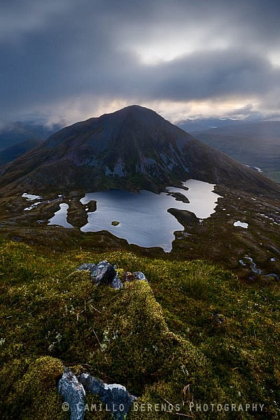 Sgurr Eilde Mor with Coire an Lochain below its steep scree slopes at dawn, from Sgor Eilde beag
