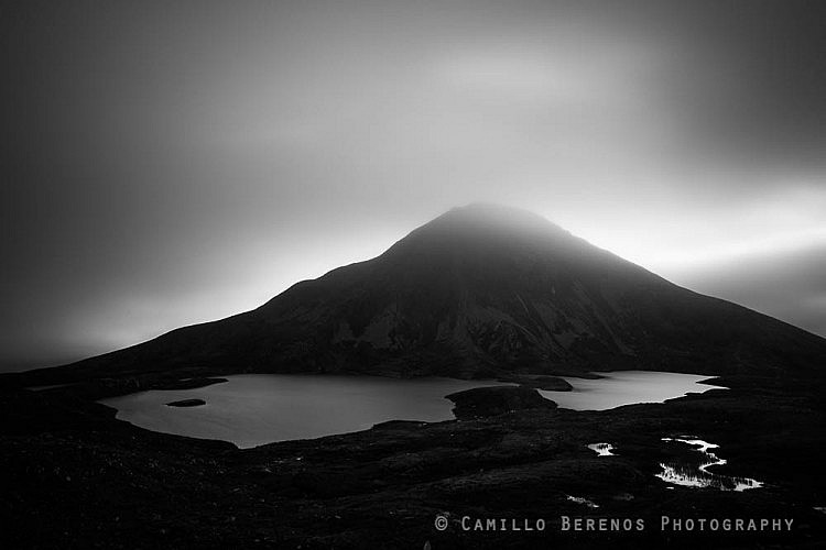 Sgurr Eilde Mor from Coire an Lochain as clouds shroud its summit in very moody conditions