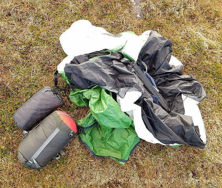 Tent, sleeping bag and sleeping pad