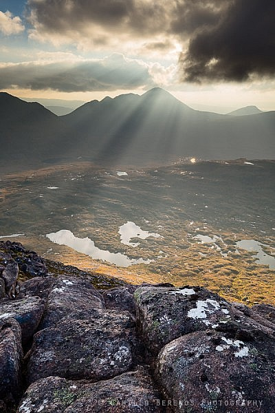 Crepescular rays above Beinn Alligin, Torridon.
