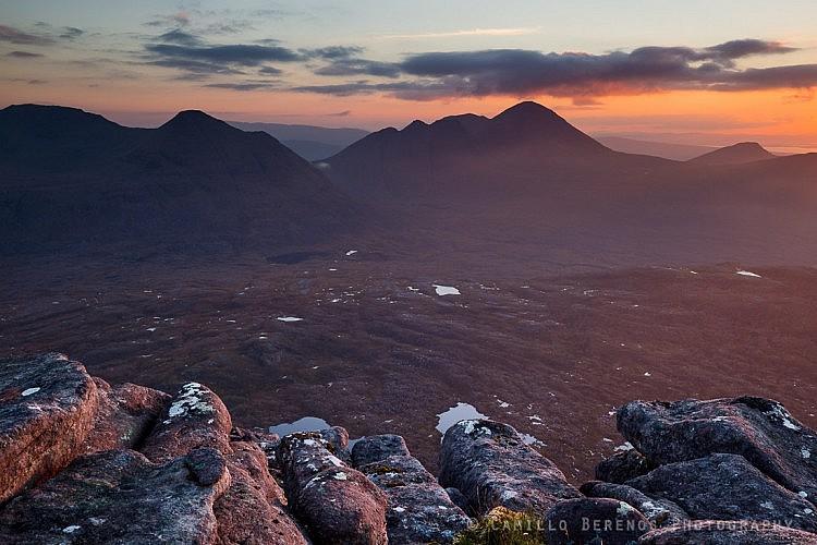Looking out over Beinn Dearg and Beinn Alligin from a rocky outcrop on Beinn an Eoin