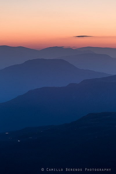Layered hills in Torridon at dawn.
