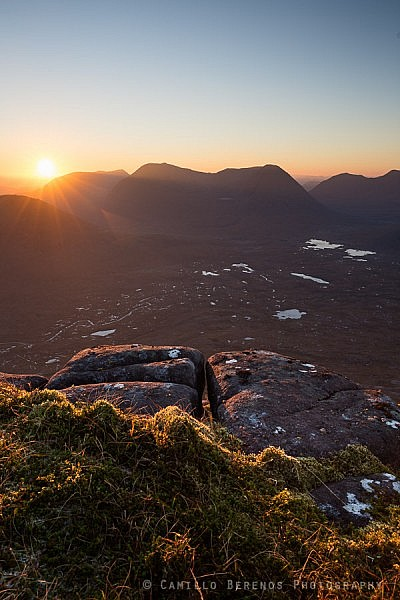 The imposing massif of Beinn Eighe at sunrise from Beinn na Eoin.