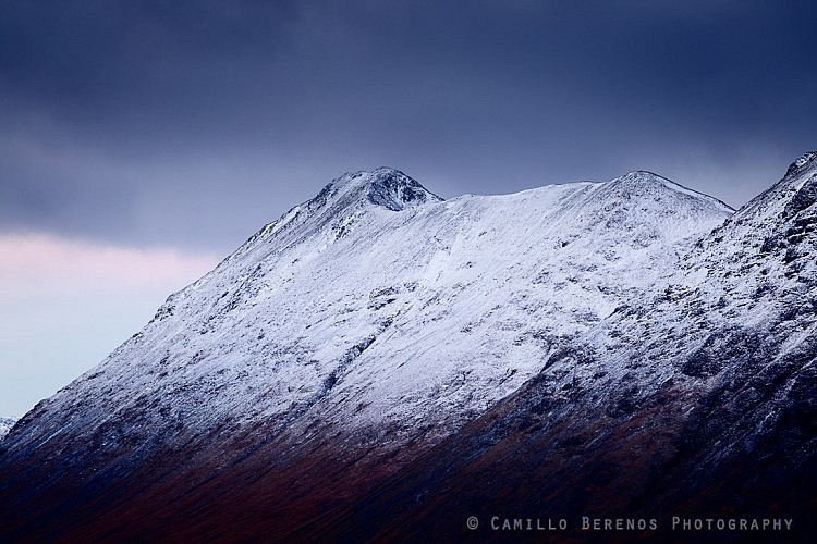 The ridge of Buachaille Etive Beag with the Munro summit of Stob Dubh at the far end