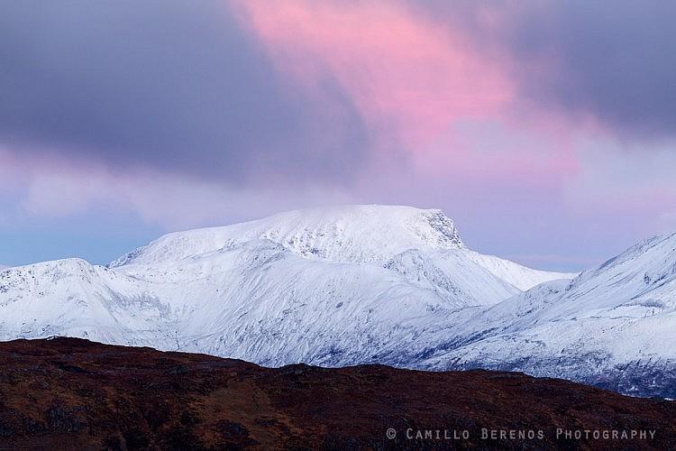 Pink sky above Ben Nevis at dawn.