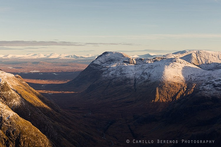 The Buachaille Etive Beag and Buachaille Etive Mor in late afternoon light