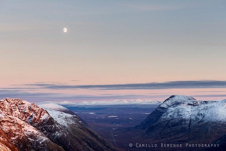A rising moon above the vast landscape of Rannoch Moor.