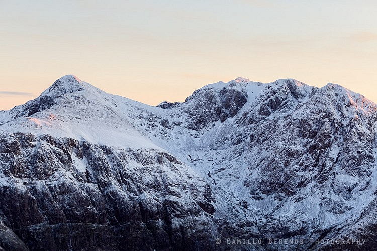 The impressively shaped Bidean nam Bian massif in winter.