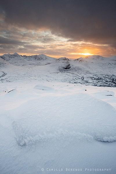 Sunset above Beinn Dearg (Torridon) in winter