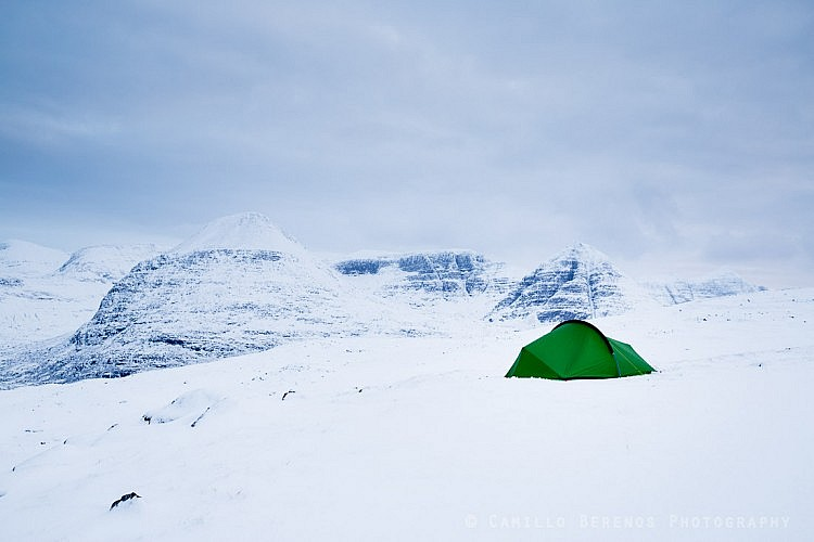 When camping high in the Scottish mountains in winter different gear is needed compared to summer conditions