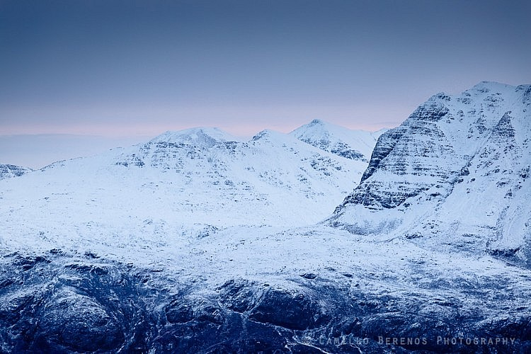 Slioch and the mountains of the Fisherfield Forest beyond at dawn