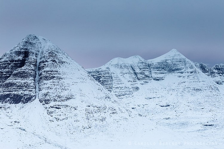 Sail Mhor (Beinn Eighe) and Liathach at dawn on an overcast winter day