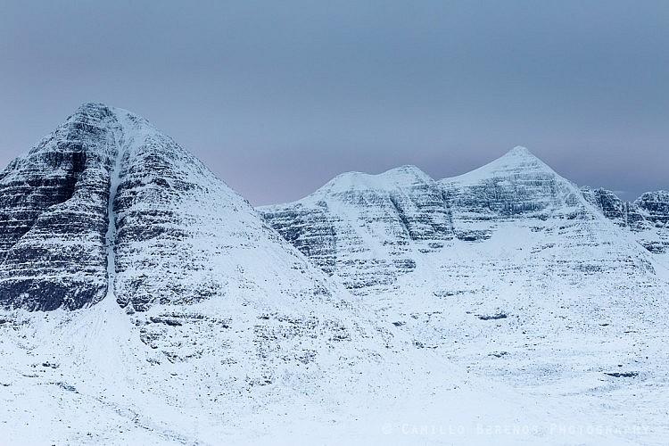 Sail Mhor (Beinn Eighe) and Liathach at dawn on an overcast winter day
