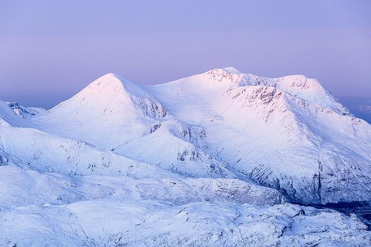 A snowy Beinn Sgritheall at dawn