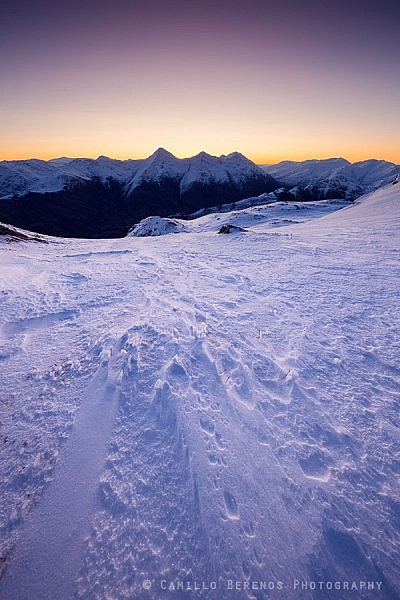The Kintail ridge and part of the South Shiel ridge on a winter dawn.