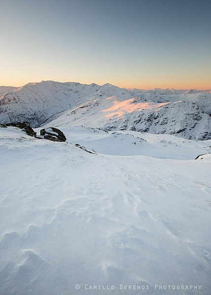 The rugged mountains on the South Shiel ridge (Kintail) at sunrise