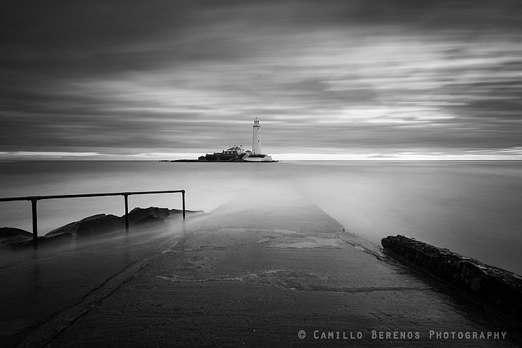 Long exposure of the submerged causeway leading to St Mary's lighthouse