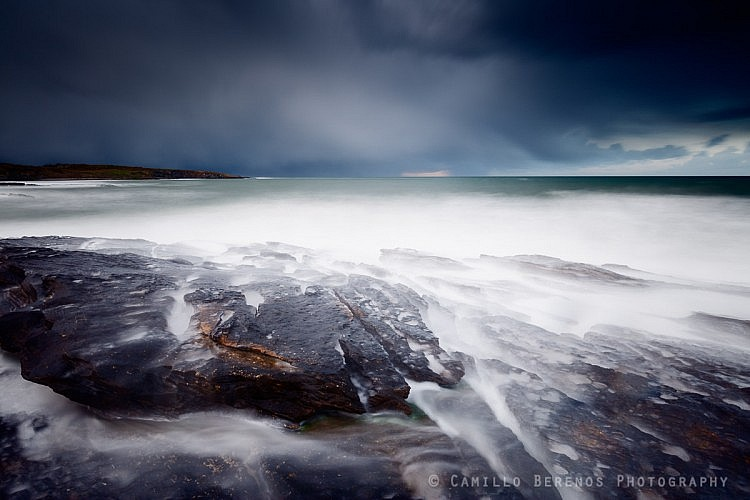 A hail storm approaching over the North Sea, near Howick