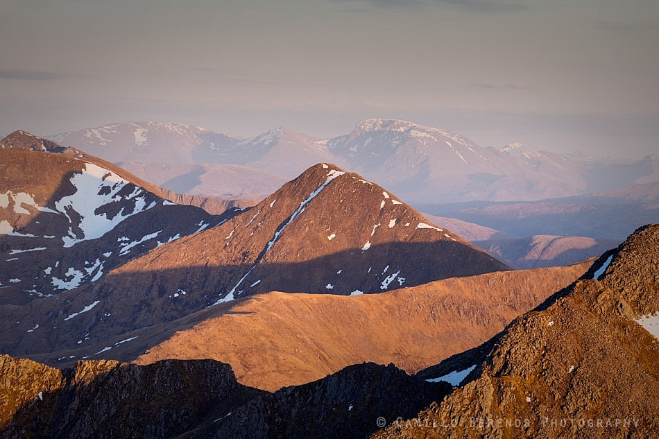 Interplay between light and shadow on Sgurr an Lochain at sunset