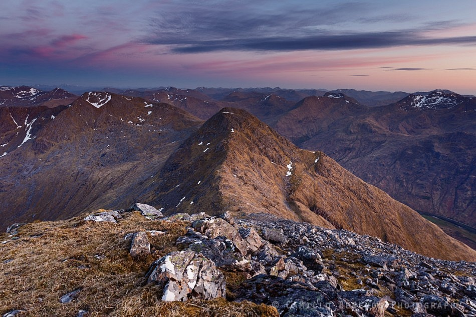 Sgurr na Carnach with the South Shiel ridge beyond at twilight