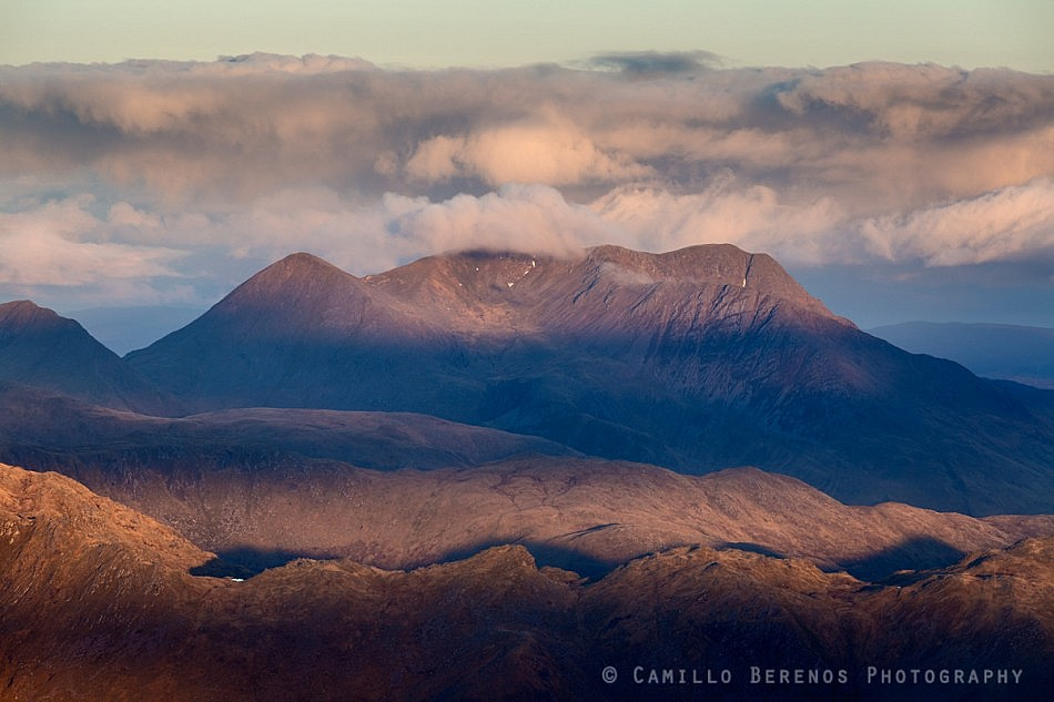 Clouds over Beinn Sgritheall at sunrise