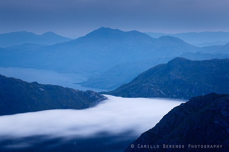 A band of low hanging clouds entering the rough bounds of Knoydart at dawn